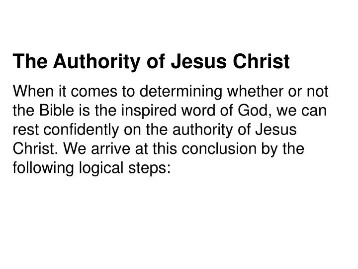 The Authority of Jesus Christ