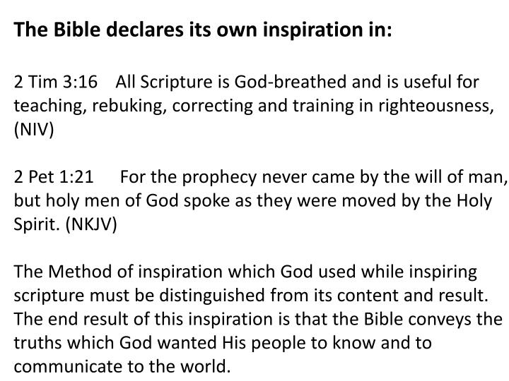 The Bible declares its own inspiration in: