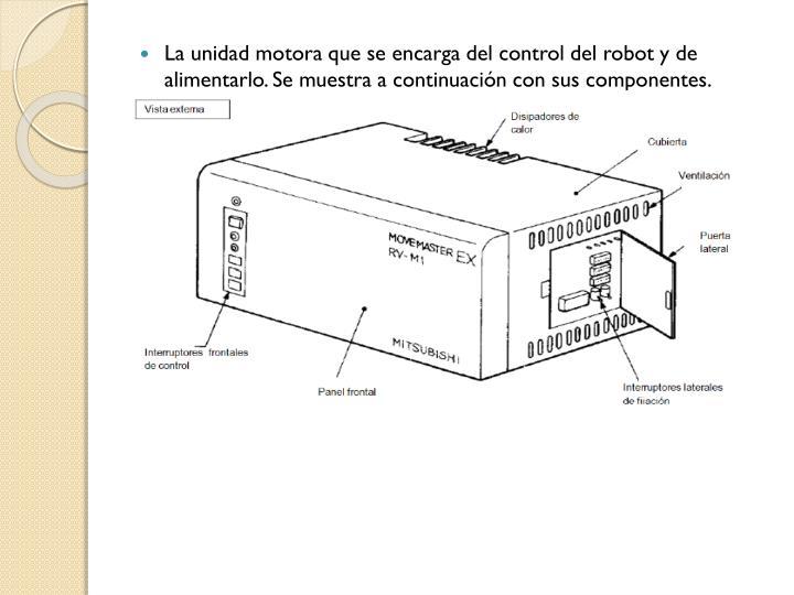 La unidad motora que se encarga del control del robot y de