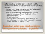 based on what you read analyze the question choices 5 points