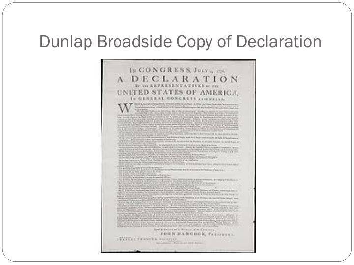 Dunlap Broadside Copy of Declaration