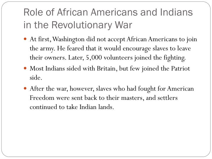Role of African Americans and Indians in the Revolutionary War