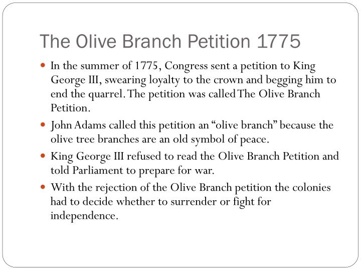 The olive branch petition 1775