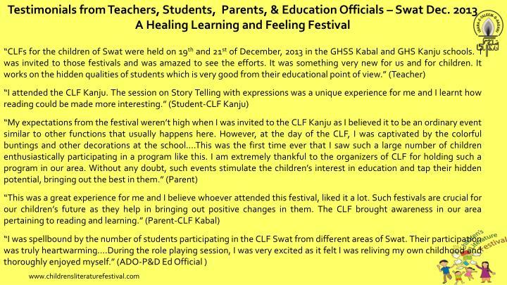 Testimonials from Teachers, Students,  Parents, & Education Officials – Swat Dec. 2013