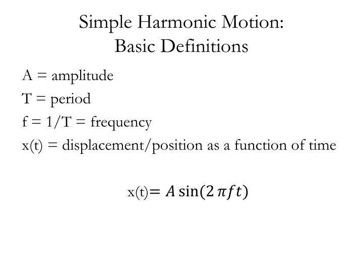 Simple Harmonic Motion: