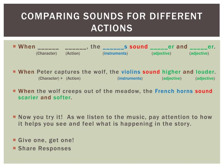 Comparing sounds for different actions