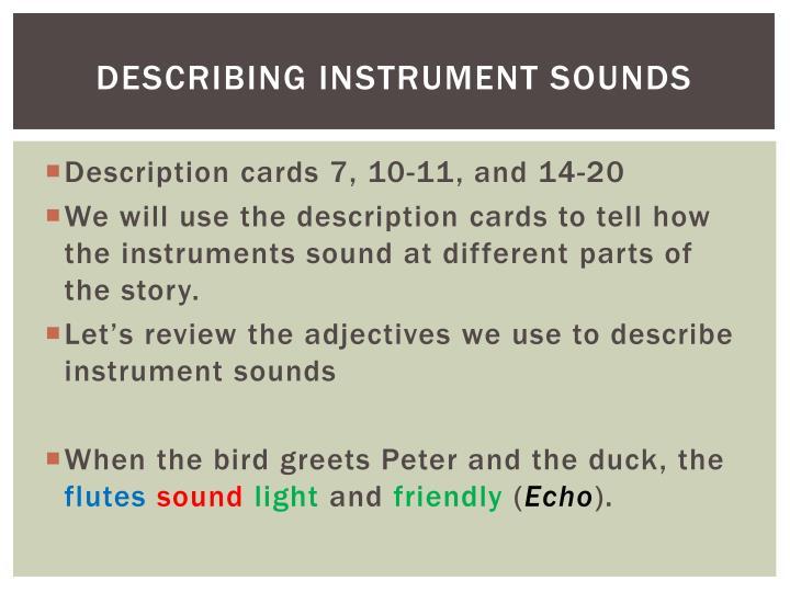 Describing instrument sounds