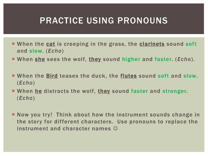 Practice using Pronouns