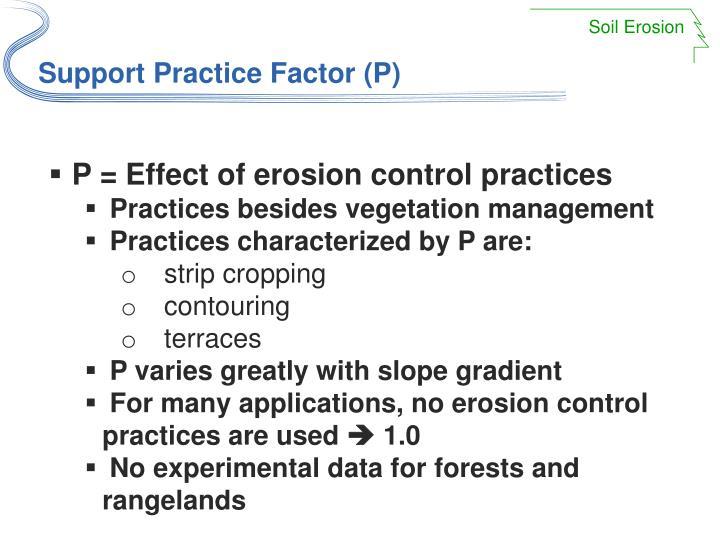 Support Practice Factor (P)
