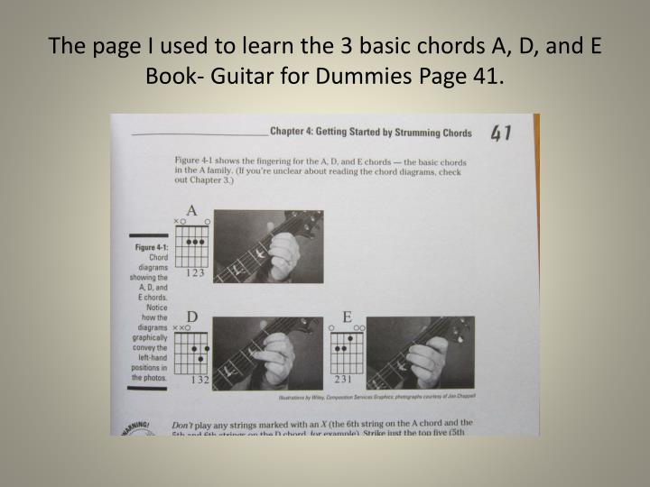 The page I used to learn the 3 basic chords A, D, and E