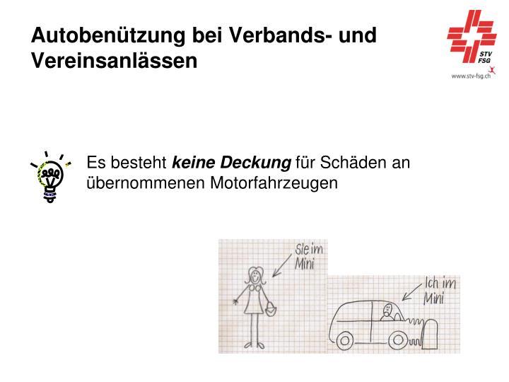 Autobenützung bei Verbands- und Vereinsanlässen