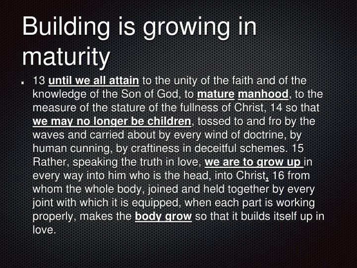 Building is growing in maturity
