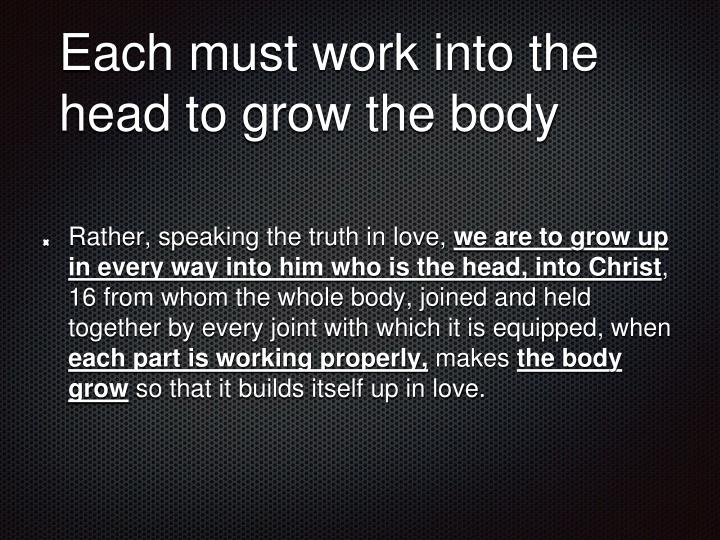 Each must work into the head to grow the body