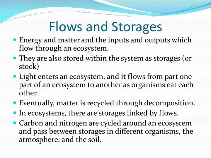 Flows and Storages