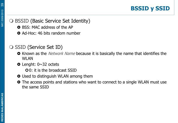 BSSID y SSID