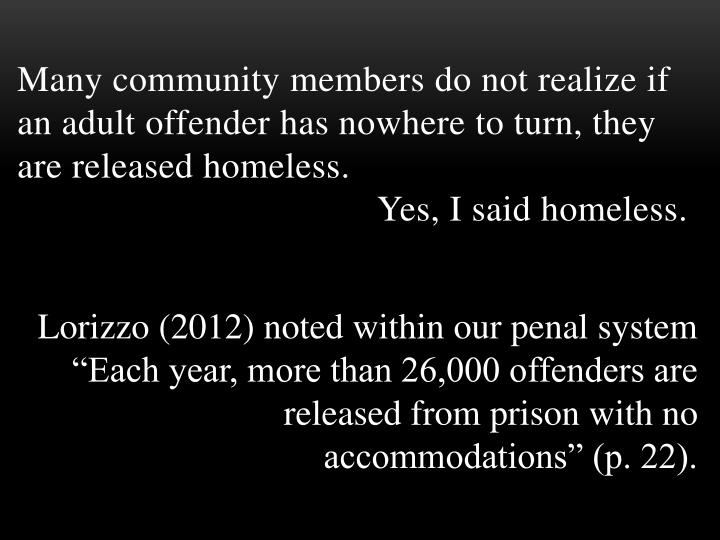 "Lorizzo (2012) noted within our penal system ""Each year, more than 26,000 offenders are released from prison with no accommodations"" (p. 22)."