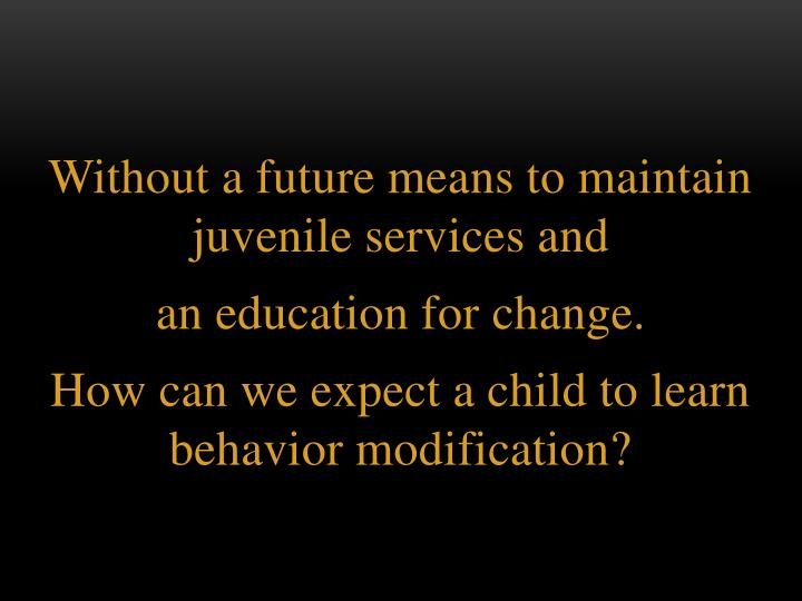 Without a future means to maintain juvenile services and