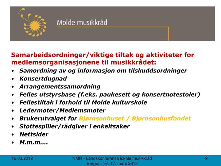 Samarbeidsordninger/viktige tiltak og aktiviteter for medlemsorganisasjonene til musikkrådet: