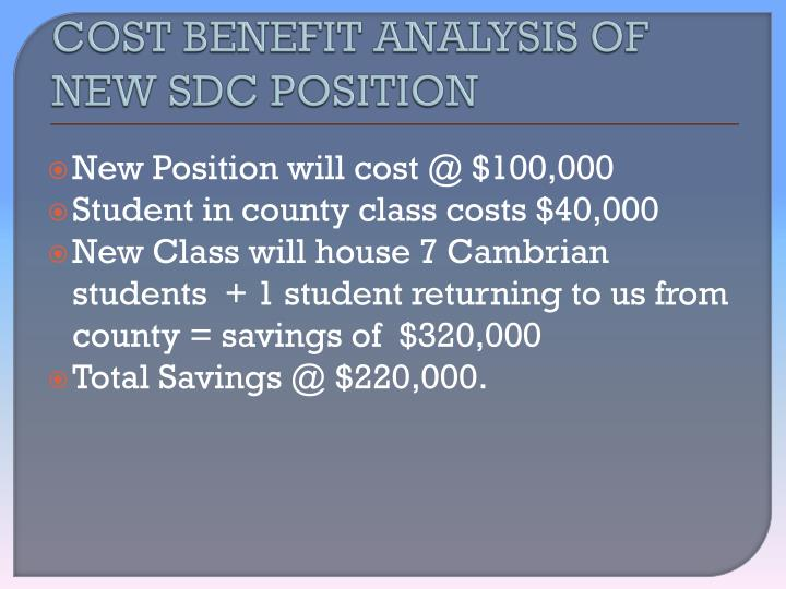 Cost benefit analysis of new sdc position