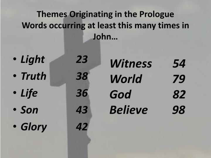 Themes Originating in the Prologue