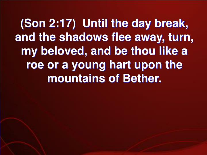 (Son 2:17)  Until the day break, and the shadows flee away, turn, my beloved, and be thou like a roe or a young hart upon the mountains of