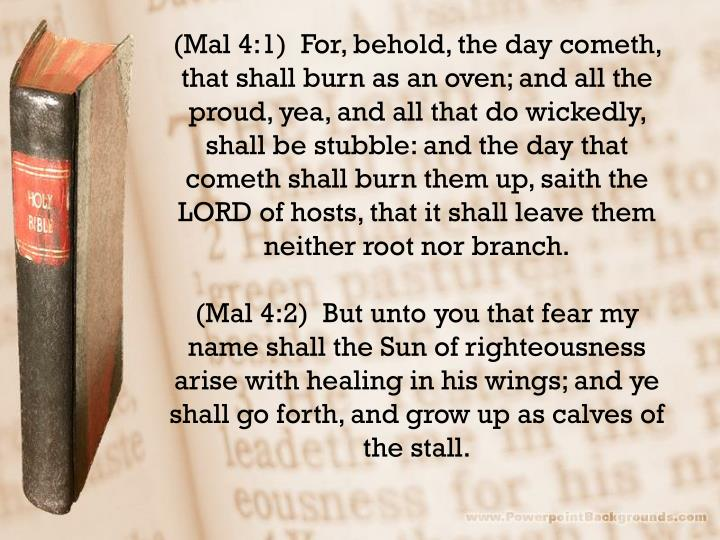(Mal 4:1)  For, behold, the day cometh, that shall burn as an oven; and all the proud, yea, and all that do wickedly, shall be stubble: and the day that cometh shall burn them up,