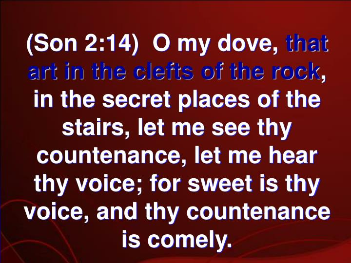 (Son 2:14)  O my dove,