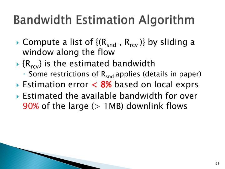 Bandwidth Estimation Algorithm