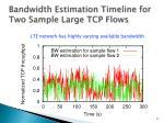 bandwidth estimation timeline for two sample large tcp flows