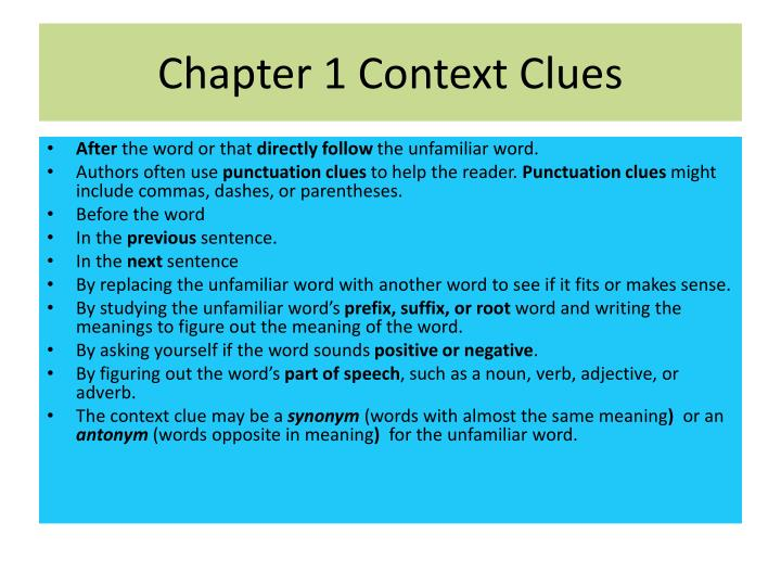 Chapter 1 Context Clues