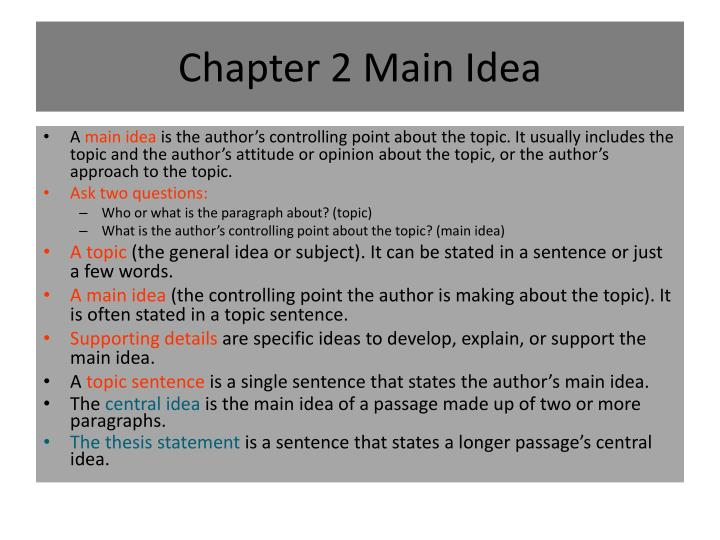 Chapter 2 Main Idea