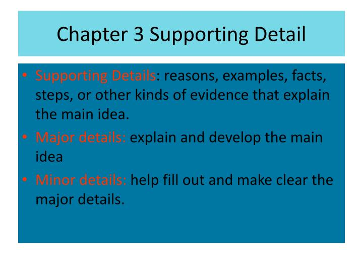 Chapter 3 Supporting Detail