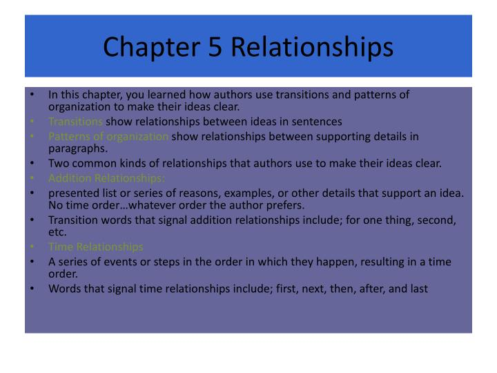 Chapter 5 Relationships