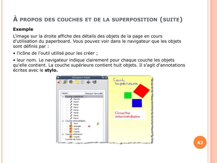 À propos des couches et de la superposition (suite)