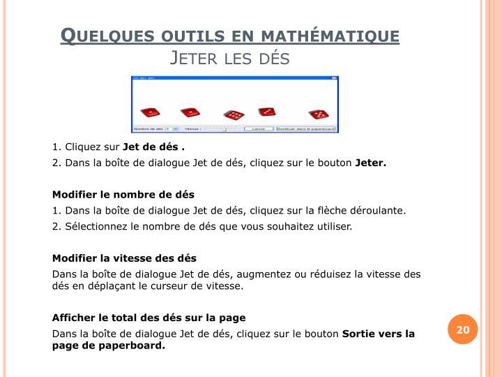 Quelques outils en mathématique