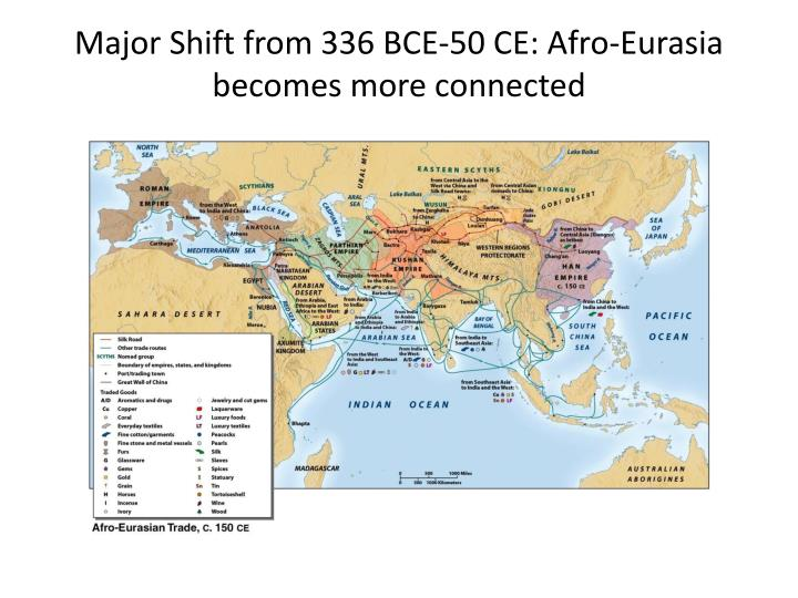 Major shift from 336 bce 50 ce afro eurasia becomes more connected