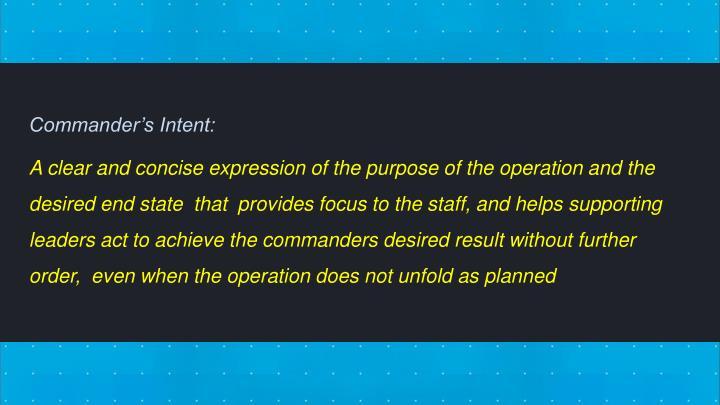 Commander's Intent: