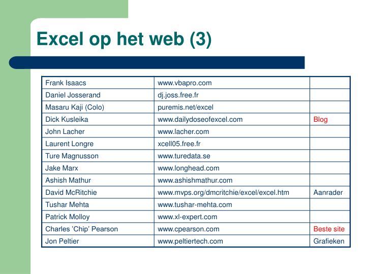 Excel op het web (3)