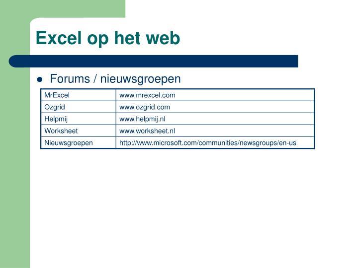 Excel op het web