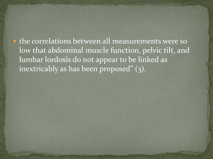 the correlations between all measurements were so low that abdominal muscle function, pelvic tilt, and lumbar