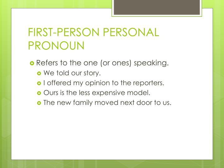FIRST-PERSON PERSONAL PRONOUN