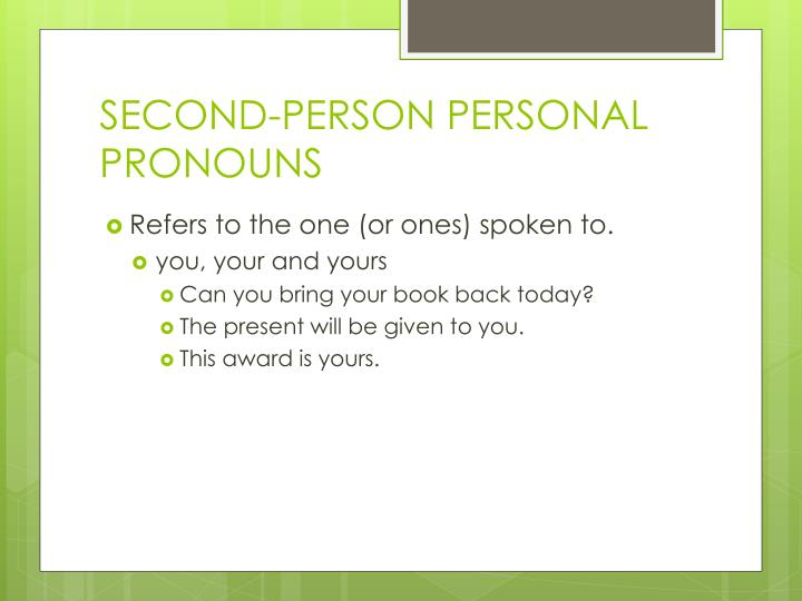 SECOND-PERSON PERSONAL PRONOUNS