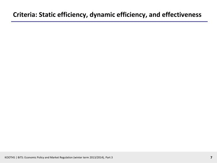 Criteria: Static efficiency, dynamic efficiency,