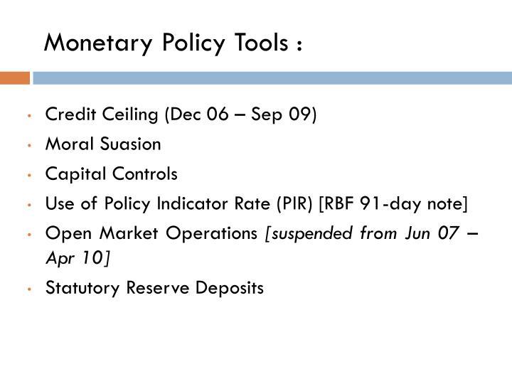 Monetary Policy Tools :