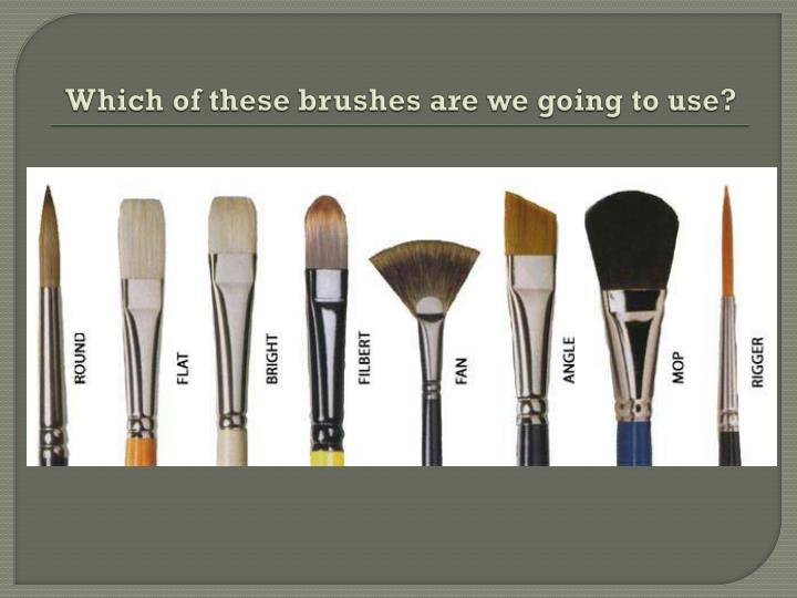 Which of these brushes are we going to use?