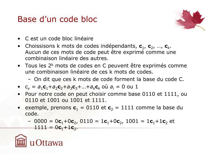 Base d'un code bloc