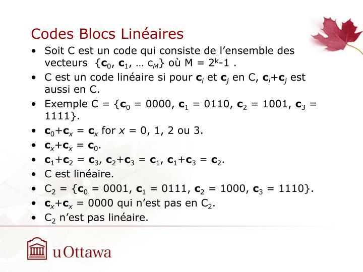 Codes Blocs Linéaires