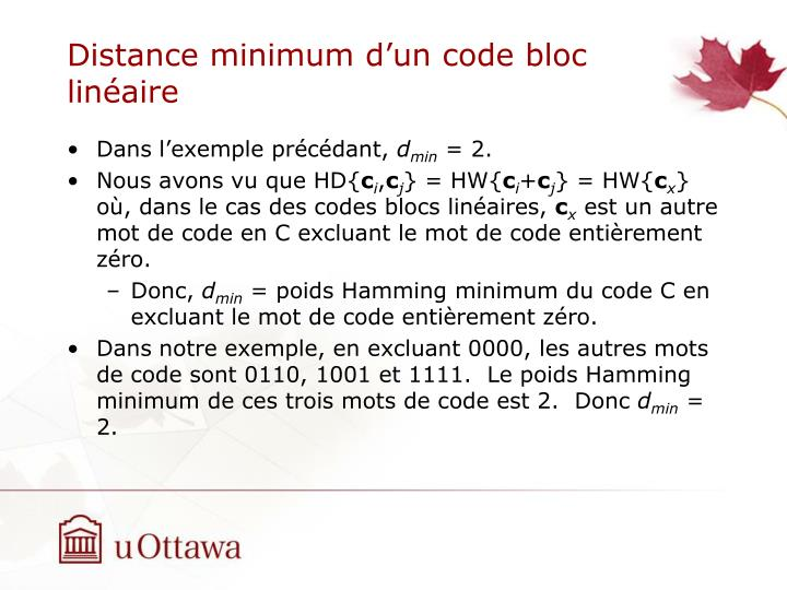 Distance minimum d'un code bloc