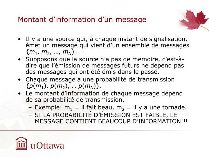 Montant d'information d'un message