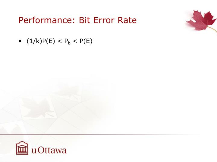 Performance: Bit Error Rate